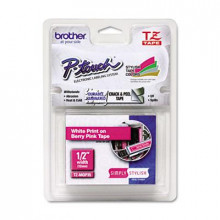 "Brother P-Touch TZEMQP35 TZe Series 1/2"" x 16.4 ft. Standard Labeling Tape, White/Berry Pink"