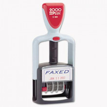 """2000 Plus """"Faxed"""" Self-Inking Two-Color Word Dater, 1-3/4"""" x 1"""""""