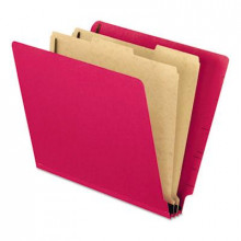 Pendaflex 6-Section Letter Pressboard 25-Point End Tab Classification Folders, Red, 10/Box