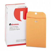 "Universal 6"" x 9"" Side Seam #55 Kraft Clasp Envelope, Light Brown, 100/Box"