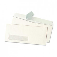 "Universal One 4-1/8"" x 9-1/2"" Peel Seal Strip #10 Window Business Envelope, White, 500/Box"