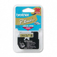 "Brother P-Touch M821 M Series 3/8"" x 26.2 ft. Tape Cartridge, Black on Gold"