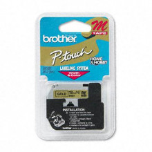 "Brother P-Touch M831 M Series 1/2"" x 26.2 ft. Tape Cartridge, Black on Gold"