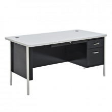 "Sandusky 600 Series 60"" W Single Pedestal Teacher Desk (Shown in Grey / Black)"