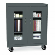 """Sandusky 48"""" H Transport Counter Height Clear View Mobile Storage Cabinets, Assembled (Shown in Charcoal)"""