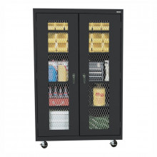 "Sandusky 46"" W x 24"" D x 78"" H Transport Expanded Metal Front Mobile Storage Cabinet, Assembled (Shown in Black)"
