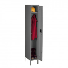 Tennsco Unassembled Single Tier Steel Lockers with Legs - Shown in Medium Grey