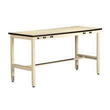 Tennsco Standard Top Technical Workstation with Adjustable Legs, Power Rail (Shown in Sand)