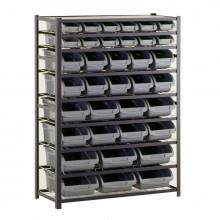 "Sandusky 8-Shelf 16"" D Steel Shelving Unit with 36 Grey Bins"