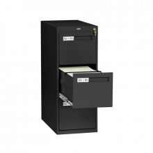 "Tennsco V283-MF 3-Drawer 28"" Deep Vertical File Cabinet, Letter - Black"