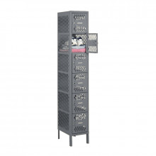 Tennsco Ventilated Assembled 6-Tiered Steel Box Lockers - with Legs - Shown in Medium Grey