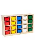ECR4Kids Birch 20 Cubby-Tray Classroom Storage Cabinet with Bins