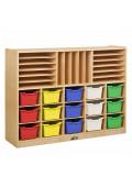 ECR4Kids Birch Multi-Section Classroom Storage Cabinet with Bins