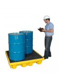 "Ultratech 1231 P4 51"" W x 51"" L Nestable Spill Containment 4-Drum Deck Palletwith Drain, 66 Gallons"