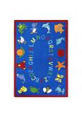 Joy Carpets ABC Animals Classroom Rug, Blue