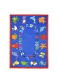 Joy Carpets ABC Animals (Hebrew Alphabet) Classroom Rug, Blue