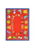 Joy Carpets ABC Animals (Hebrew Alphabet) Classroom Rug, Red