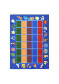 Joy Carpets Alphabet Phonics Rectangle Classroom Rug, Blue