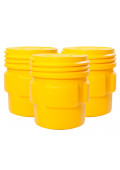 Eagle Screw Lid Polyethylene Lab Pack Drum, 65 Gal, Yellow, 3-Pack