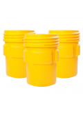 Eagle Screw Lid Polyethylene Overpack Spill Containment Drum, 95 Gal, Yellow, 3-Pack