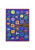 Joy Carpets Alphabet Leaves Rectangle Classroom Rug, Bold