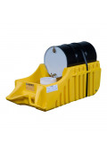 "Justrite EcoPolyBlend 32"" W x 72"" L Spill Containment Dispensing Dolly, 66 Gal, Yellow"