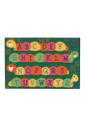 Carpets for Kids Caterpillar Friends Alphabet Rectangle Classroom Rug, Green