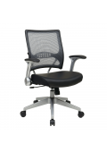Office Star Space Seating Professional Synchro-Tilt AirGrid Mesh-Back Mid-Back Leather Managers Chair