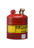 Justrite 7150147 Type I Brass Faucet 5 Gallon Dispensing Safety Can, Red