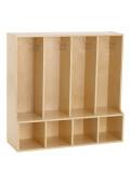 ECR4Kids Birch Streamline 4-Section Toddler Bench Coat Locker