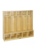 ECR4Kids Birch 5-Section Cubby Coat Locker with Step