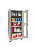 "Hallowell 24"" D x 78"" H Antimicrobial Safety-View Mobile Storage Cabinets, Light Grey"
