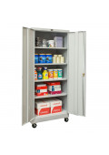 "Hallowell 24"" D x 78"" H Antimicrobial Mobile Storage Cabinets, Light Grey"