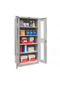 "Hallowell 78"" H Antimicrobial Safety-View Storage Cabinets, Light Grey"