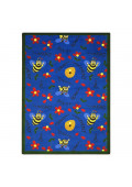 Joy Carpets Bee Attitudes Rectangle Classroom Rug, Blue