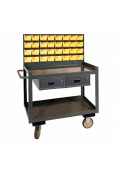 Durham Steel 2-Drawer and 32 Bins Steel Mobile Workbench 1200 lbs Capacity