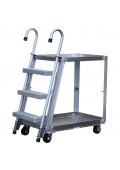 Vestil Spring Loaded 660-1000 lb Load Aluminum Stock Picker Truck Cart with Ladder