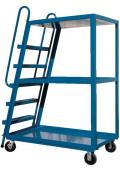 Vestil Spring Loaded 1000 lb Load Steel Hi-Frame Stock Picker With Ladder