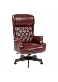 Office Star Work Smart Traditional Deluxe Pillow-Top Vinyl Wood High-Back Executive Chair
