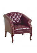 Office Star Work Smart Traditional Queen Ann Vinyl Wood Club Chair