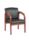 Office Star Work Smart Faux Leather Wood Mid-Back Guest Chair