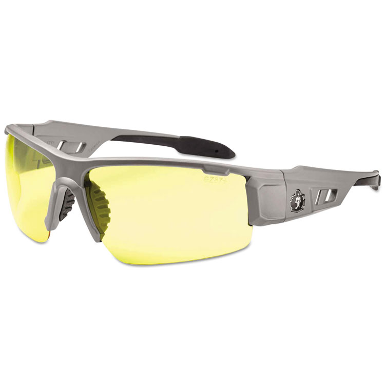 Ergodyne Skullerz Dagr Safety Glasses  Matte Gray Frame/Yellow Lens  Nylon/Polycarb 52150