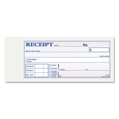 "Adams 2-3/4"" x 7-3/16"" 50-Page Receipt Book TC2701"
