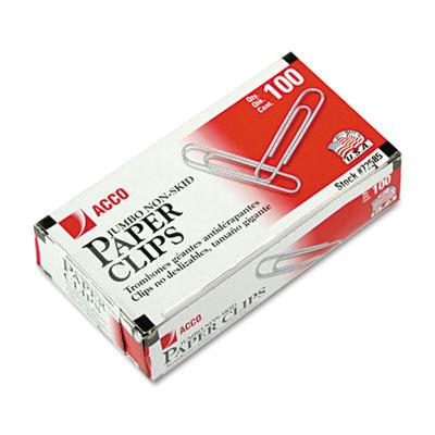Acco Jumbo Steel Wire Silver Nonskid Economy Paper Clips 1000-paper Clips