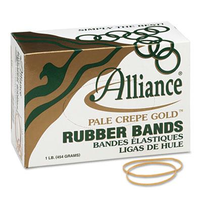 "Alliance 3-1/2"" x 1/16"" Size #19 Pale Crepe Gold Rubber Bands  1 lb. Box 20195"
