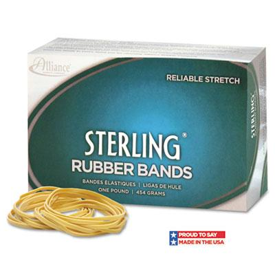 """Alliance 7/8"""" X 1/16"""" Size #8 Sterling Ergonomically Correct Rubber Bands 1 Lb. Box"""