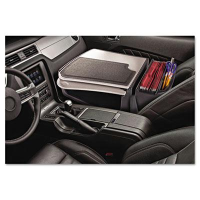 Autoexec Gripmaster 01 Auto Desk With Retractable Writing Surface & Supply Organizer Gray