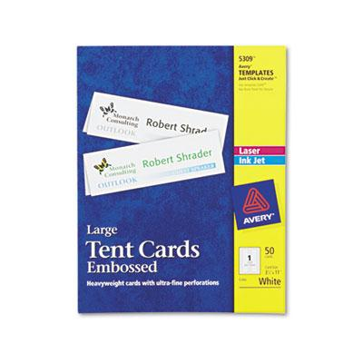 "Avery 3-1/2"" X 11"" 50-cards Large Embossed Tent Card Stock"