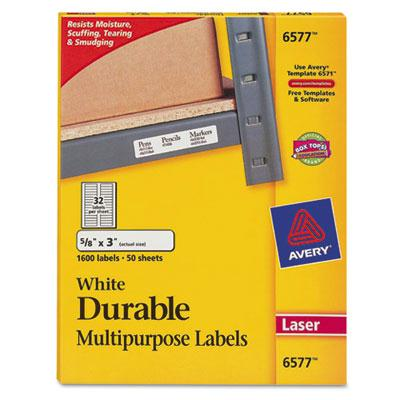 "Avery 3"" X 5/8"" Permanent Durable Multi-use Laser Labels White 1600/pack"