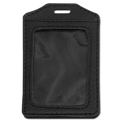 "Advantus 2-1/2"" x 3-1/2"" Vertical Leather-Look Badge Holder  Black  5/Pack 76341"